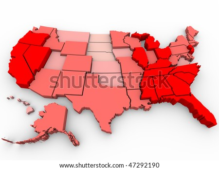 A United States map showing unemployment rates by state, with red being highest percentage of joblessness