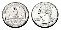 A United states Quarter dollar.