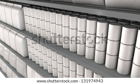 A unsaturated close up view of a few sections of supermarket shelving with generic products packed into them