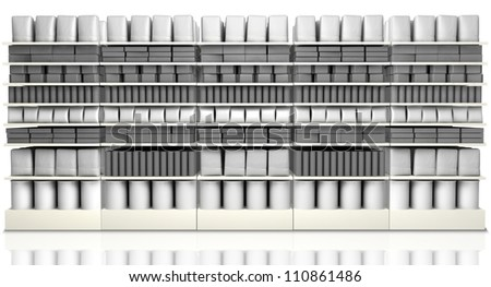 A unsaturated front view of five sections of supermarket shelving with generic products packed into them