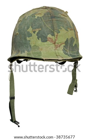 A US military helmet with an M1 Mitchell pattern camouflage cover from the Vietnam war.