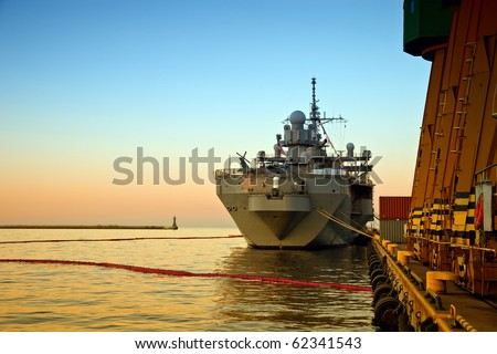 A US Warship in port of Gdynia, Poland.