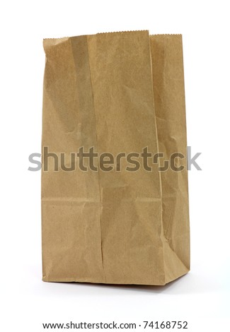 A used brown paper bag on a white background.
