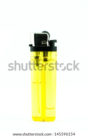 A used butane yellow lighter - lighter isolated on the white