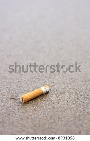 A used cigarette butt discarded on the pristine beach.