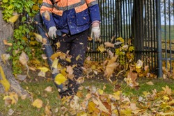 A utility worker in a special uniform uses a blower to remove fallen leaves from a park lawn. Yellow leaves are flying in the air. Autumn sunny day. Seasonal work concept.