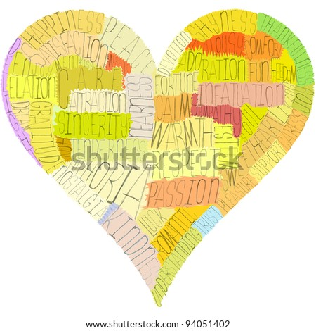 A Valentine's Day heart, composed from words about love, senses and psychology terms (such as passion, respect, nostalgia and a lot of others). Warm colors, hand-made letters and masks, great concept!