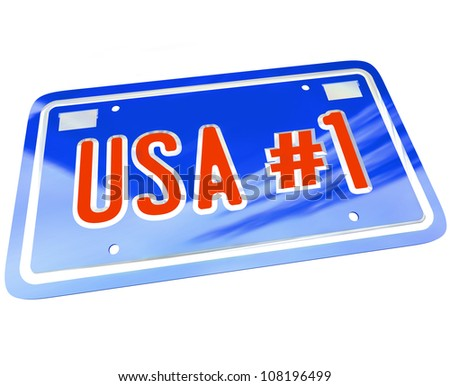 A vanity license plate in red white and blue with the letters and words USA Number One with number 1 to show patriotism and national pride in United States of America - stock photo