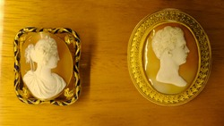 A variety of antique cameos carved from shell in intricate detail.