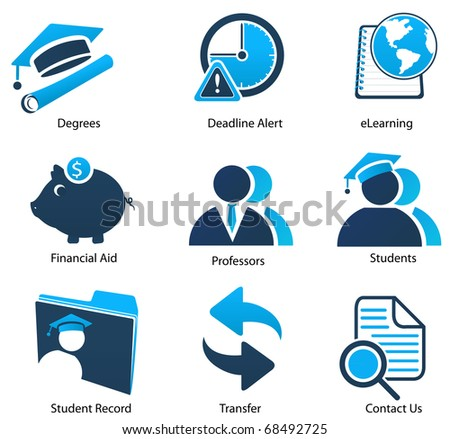 A Variety of Blue Education Icons