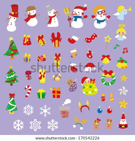 A variety of Christmas stickers