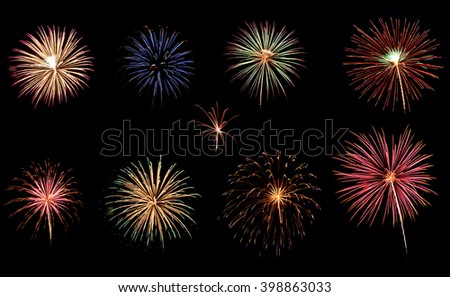 A variety of colorful fireworks isolated on black background #398863033