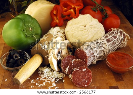 A variety of fresh ingredients for pizza