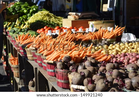 A variety of fresh vegetables for sale at a local market