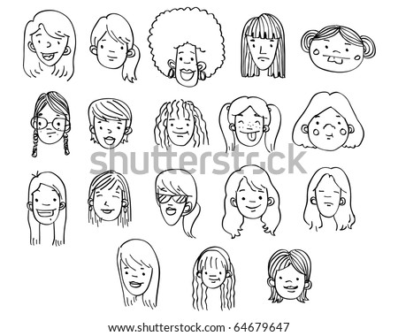 A variety of hand-drawn female heads / faces