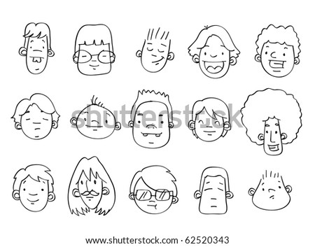 A variety of hand-drawn male heads / faces