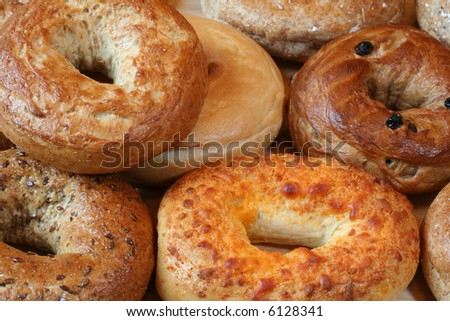 A variety of  healthy freshly baked bagels.