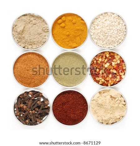 a variety of herbs and spices in metal containers - isolated on white background