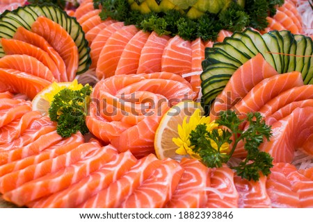 A variety of Japanese food, appetizing menu.Salmon Sashimi. Foto d'archivio ©