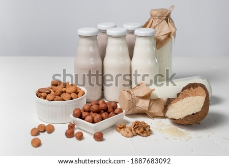 a variety of lactose-free milk from nuts and grains in glass bottles. vegan concept with hazelnut, oat, coconut, almond, walnut Foto d'archivio ©