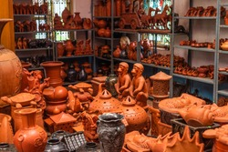 A variety of local handmade Clay pottery and home decor sold in Goa India