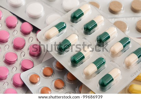 A variety of medicinal tablets in blister pack