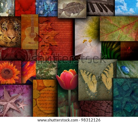 A variety of mosaic squares with a butterfly, flowers, animals and instruments inside them. Use it for an art textured background.