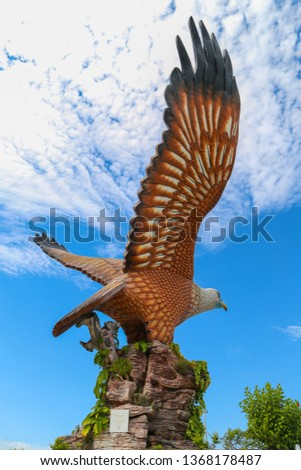 A variety of pictures on a trip to the island of Langkawi in Malaysia - image of the Falcon logo and the mountains of Langkawi Island