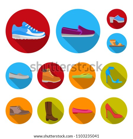 A variety of shoes flat icons in set collection for design. Boot, sneakers bitmap symbol stock web illustration.