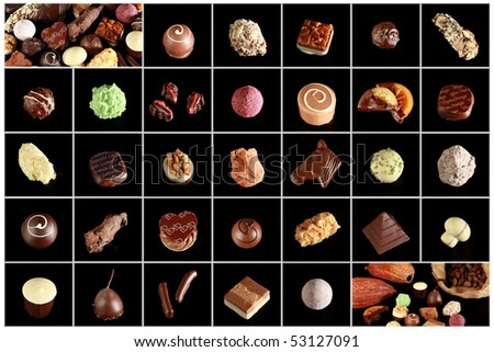 A variety of single chocolate pralines.