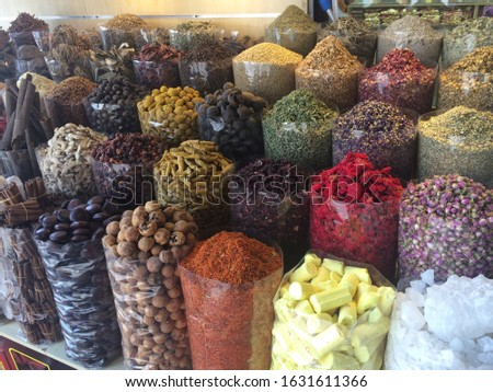 A variety of spices on display at the Spice Souk old market in Dubai, UAE