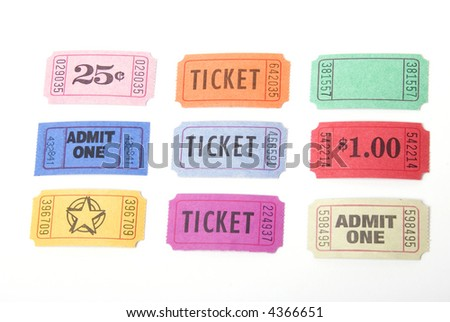 A variety of tickets shot against a white background