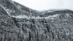 A vast mountain cliff with frozen trees and light waterfalls in Black and White.