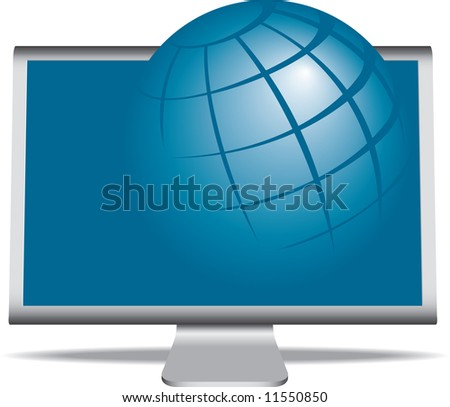 A vector illustration of a monitor with a globe coming right out of it