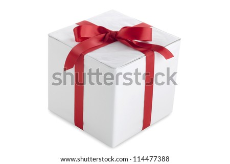 A vector image of a white gift with a ribbon isolated