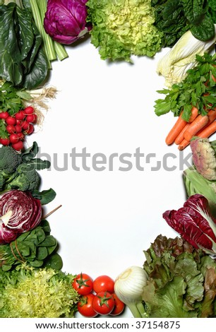 A vegetable frame on white