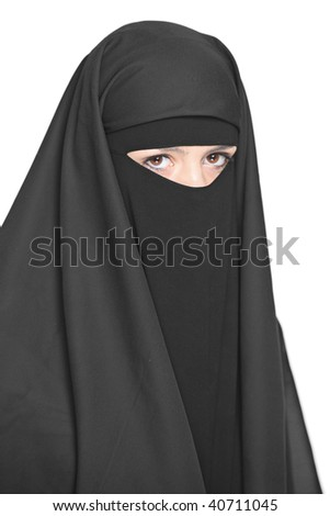 A veiled woman isolated on a white background