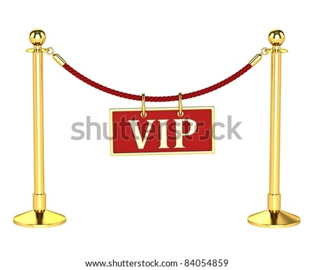 A velvet rope barrier, with a vip sign Isolated on white background