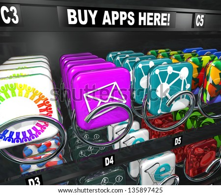 A vending machine with the words Buy Apps Here and many app tiles and icons ready to be bought and downloaded to your smart phone, tablet computer or other mobile electronic device