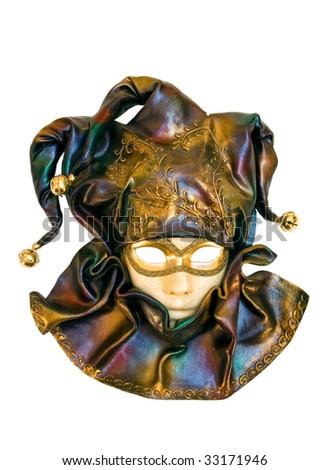 A venetian face mask over white