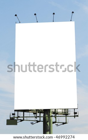 A vertical blank billboard. Clipping paths included.