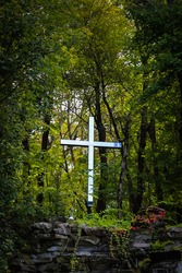 A vertical closeup of a wooden cross in the forest