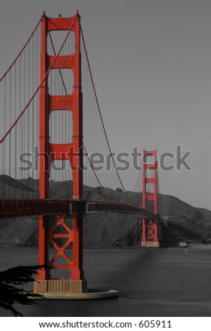 A vertical composition of the Golden Gate Bridge, selectively coloured for emphasis.