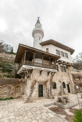A vertical low angle of Balchik Palace in Bulgaria