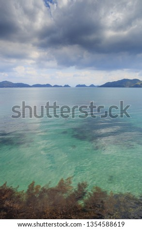 A vertical photo of the calm, clear emerald green waters of the Sea of Japan, sea weeds, and mountainous islands on the horizon under dark storm clouds.