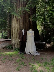 A vertical shot of the creepy bride and groom plastic mannequins in a forest