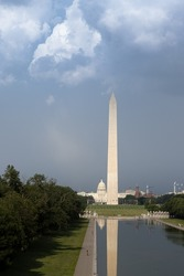 A vertical shot of the Lincoln Memorial in Washington, D C , the United States