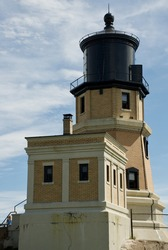 A vertical shot of the Split Rock lighthouse on Lake Superior in Minnesota