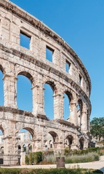 A vertical shot of the wall of Pula's Arena in Istria, Croatia