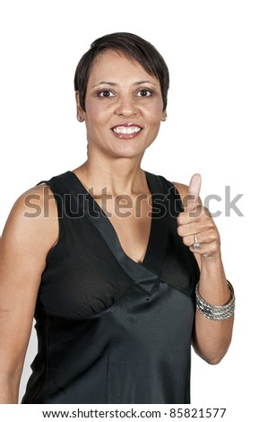 A very beautiful multi-racial woman with a big smile